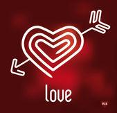 Light heart with arrow in red — Vector de stock