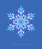 Christmas postcard with holographic snowflake — Vecteur