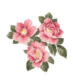 Bunch of pink roses embroidery — Stock Vector