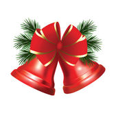 Christmas red bells with bow and christmas tree — Vector de stock