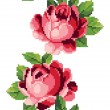 Border of pink roses embroidery — Stock Vector