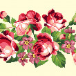 Bunch of pink roses embroidery with pink flowers — Stock Vector