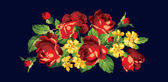 Bunch of red roses embroidery with yellow flowers — Stock Vector