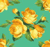 Bunch of yellow roses embroidery pattern — Stock Vector