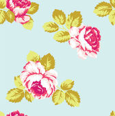 Pink roses vintage pattern on the blue background — Stock Vector