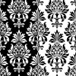 Vintage baroque pineapple pattern on the black and white  background — Stock Vector