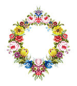 Vintage baroque mirror floral wreath — Stock Vector