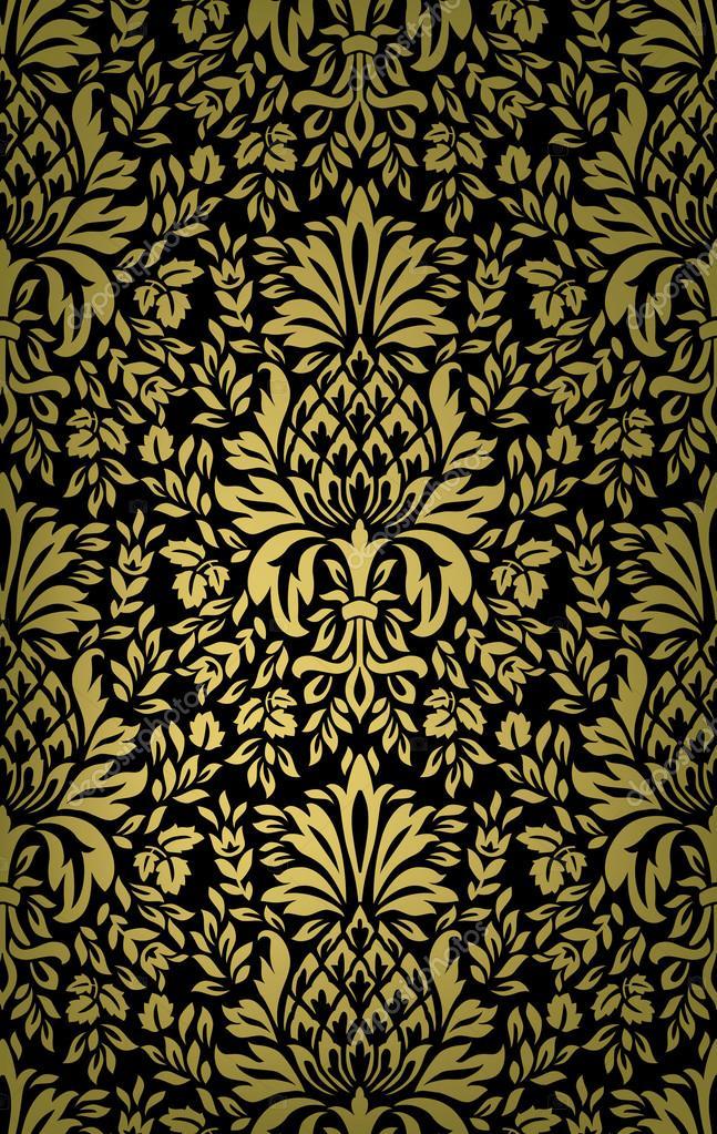 vintage ananas baroque avec motif de fleurs et feuilles. Black Bedroom Furniture Sets. Home Design Ideas