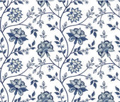 Blue chintz pattern with carnation on the white background — Stockvector