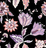 Chintz pattern with tulip on the black background — Stockvector
