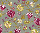 Chintz pattern with tulip on the grey background — Stockvector