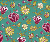 Chintz pattern with tulip on the white background — Stockvector