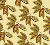 Cocoa beans and leaves vintage pattern — Stock Vector