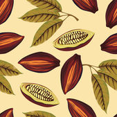 Cocoa beans vintage pattern — Stock Vector