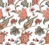 Tulipa vintage e folhas padrão — Vetor de Stock
