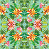 Tropical floral mirror pattern — Stock Vector