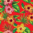 Hibiscus tropical flowers and palm leaves pattern — Stock Vector