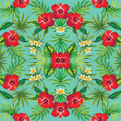 Hibiscus tropical flowers mirror pattern — Stock Vector