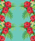 Hibiscus tropical mirror pattern — Stock Vector