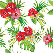 Hibiscus and palm leaves floral tropical pattern — Stock Vector