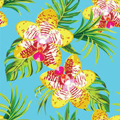 Yellow orchids and palm leaves tropical floral pattern — Stock Vector