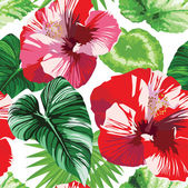 Hibiscus and palm leaves tropical floral pattern — Stock Vector