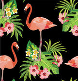 Flamingo, tropical flowers and palm leaves seamless pattern — Stock Vector