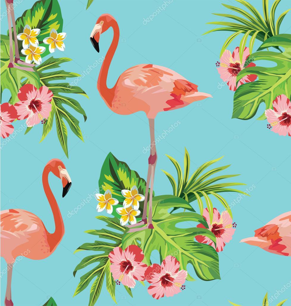 热带花卉和棕榈叶无缝图案