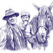 Farmer, horse and child - Stock Photo