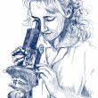 Woman with microscope — Stock Photo