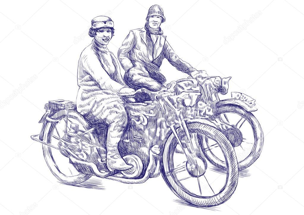 两个年轻妇女骑摩托车-手绘图图片-这是原始的蓝草绘