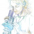 Woman with microscope — Stock Photo #18377409