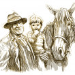 Farmer, horse and child — Stock Photo