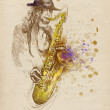 Jazzman - sax player - Stock Photo