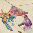 Rescue team - skiers - Stok fotoraf