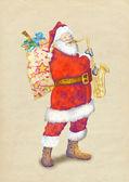 Santa playing the sax — Stock Photo