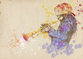 Jazzman - trumpeter — Stock Photo