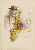 Jazzman - sax player — Stock Photo