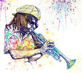 Jazzman - trumpeter — Stock Photo