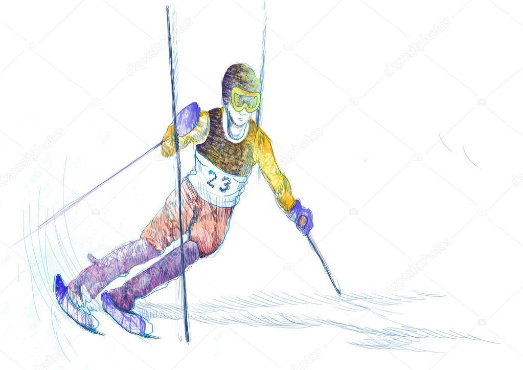 手绘插图.冬季主题-滑雪者