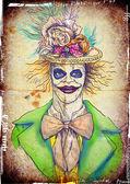 Portrait of an undead clown — Stock Photo