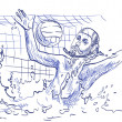 Stock Photo: Goalkeeper - water polo