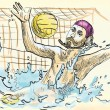 Water polo goalkeeper. - Stock Vector