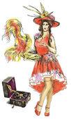 Vaudeville dancer — Stock Vector