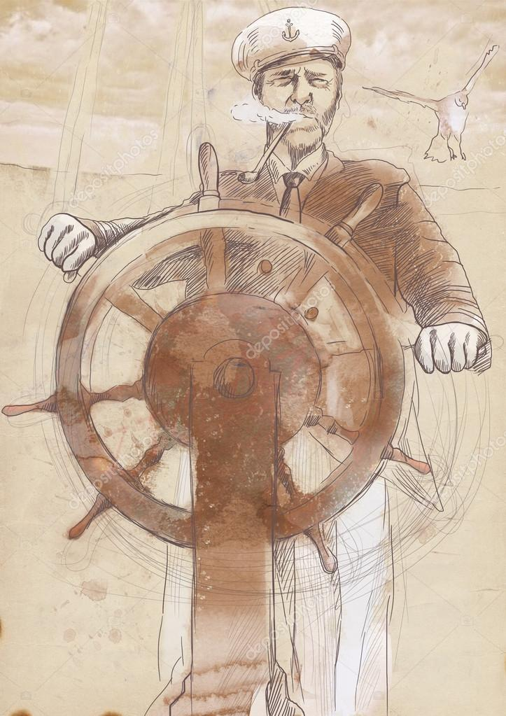 Old Sea Captain Drawing Old Sea Wolf The Captain
