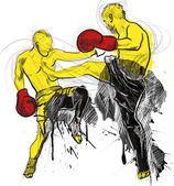 Muay thai (luta contra a arte marcial da tailândia) - kickboxing (grupo de artes marciais e stand-up esportes de combate do japão) — Foto Stock
