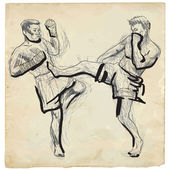Muay - kickboxing — Stock Vector