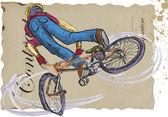 Freestyle biker — Stock Vector