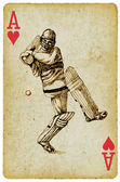 """""""Sports Aces"""" on the ace of hearts, playing card. Vintage processing. Hand drawing. CRICKETER — Stock Photo"""