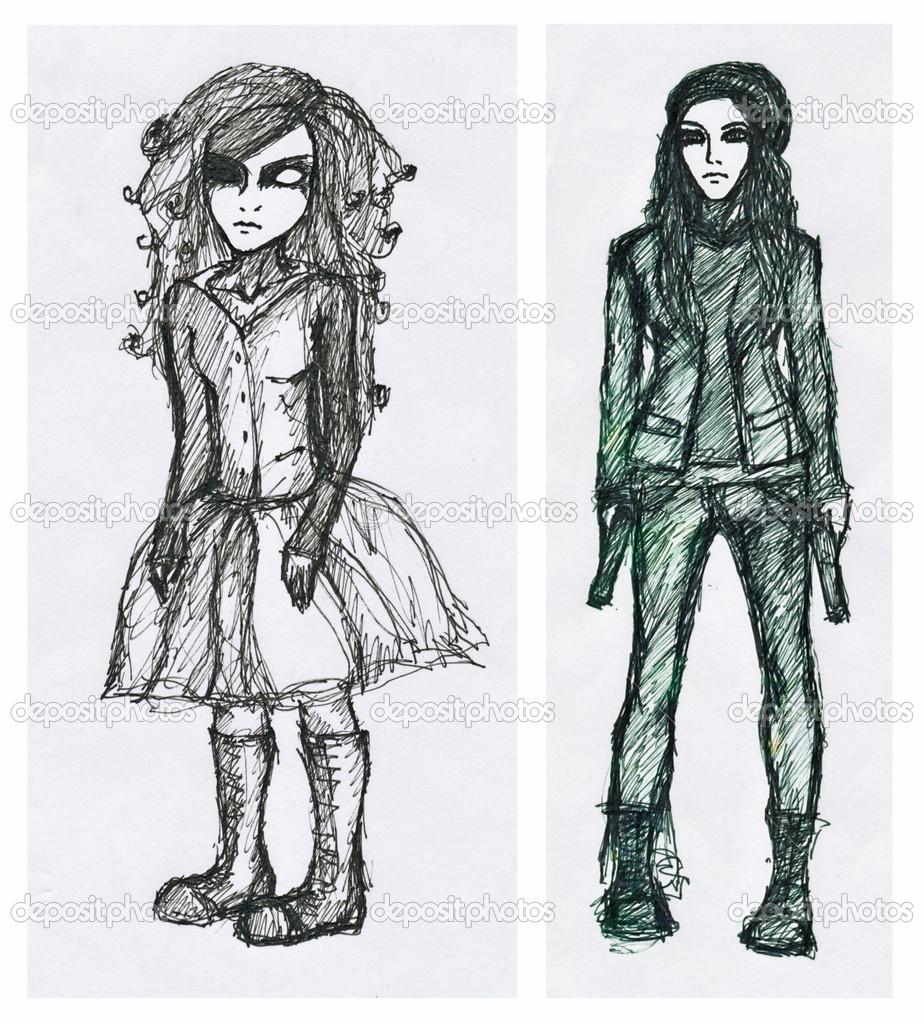 手绘图图片,两个女孩,黑色毡尖笔
